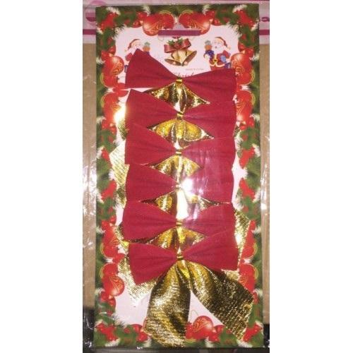 НГ Бант для декорирования елки 6шт/уп красные с золотым