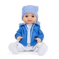 Кукла Пупс Вадимка в голубой кофте и шапке 37см.