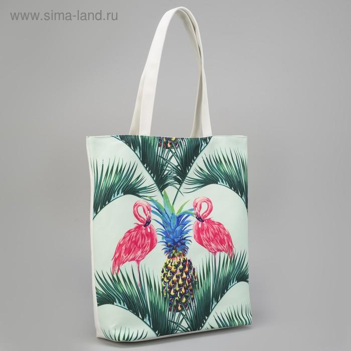 Сумка молодежная Фламинго с ананасом текстильная