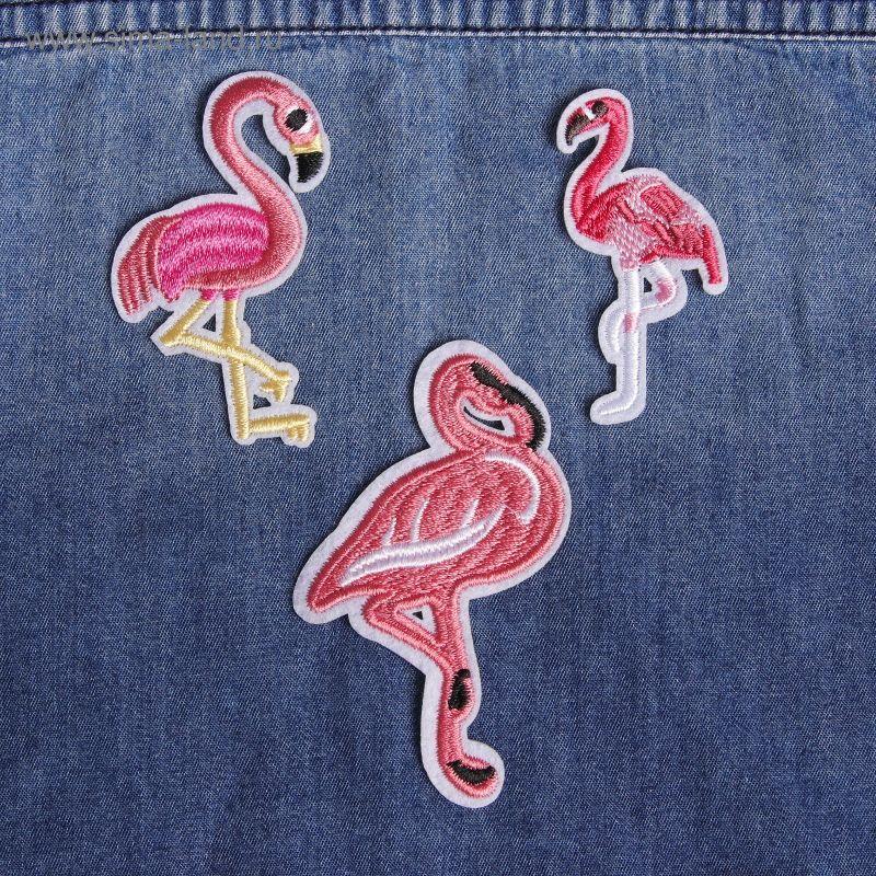 Термоаппликация 3шт Фламинго