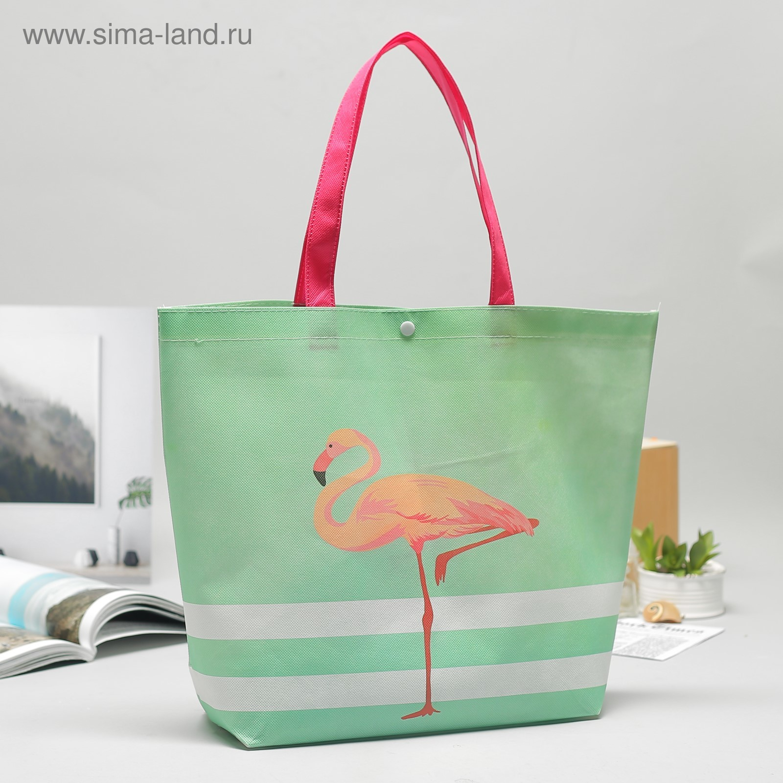 Сумка хозяйственная Фламинго мятный 42*1*36см