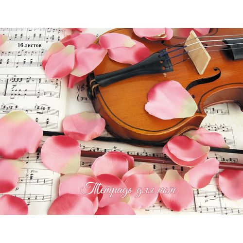 Тетрадь для нот А4 24л Скрипка в лепестках роз