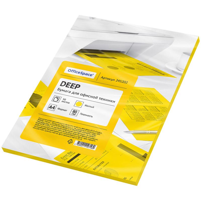 Бумага А4 цветная 50л желтая deep 80г/м