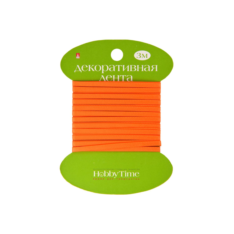 Лента атлас 3мм*3м оранжевая неоновая