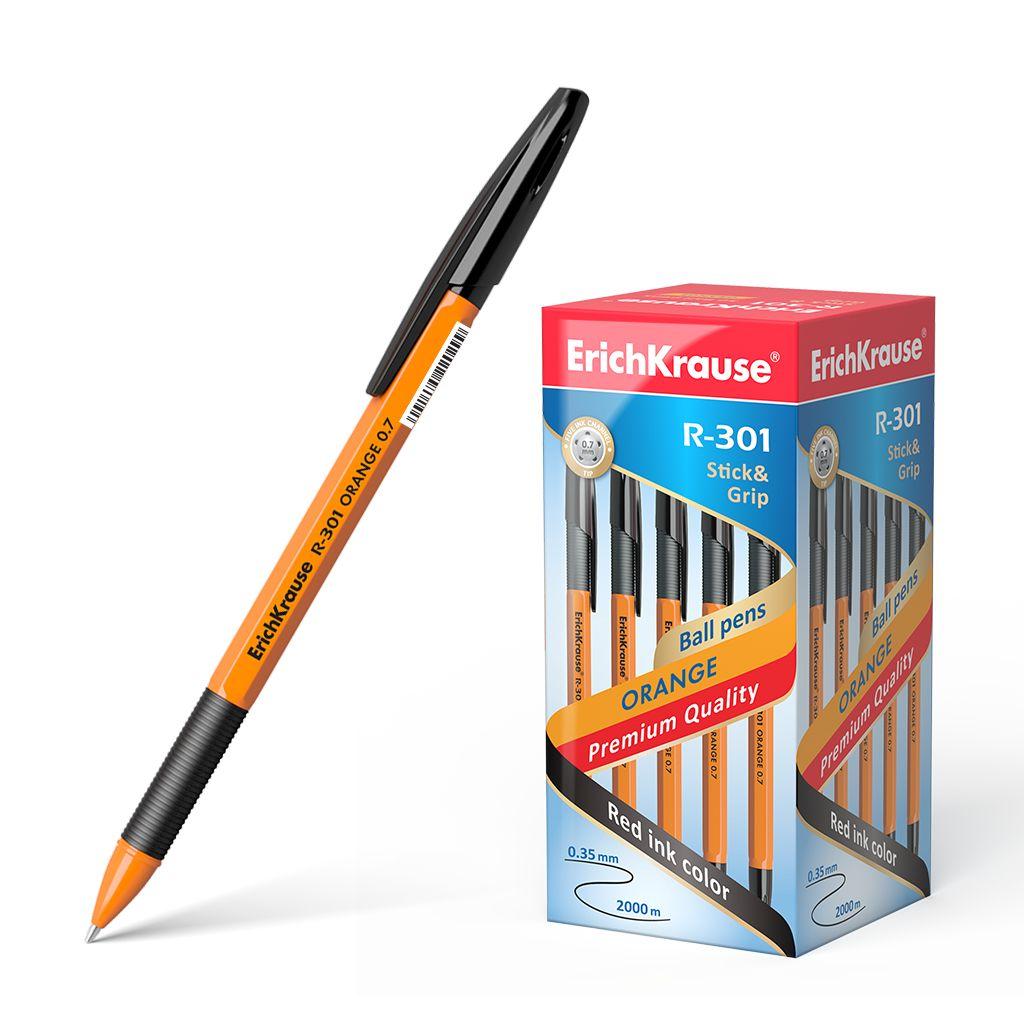 Ручка шариковая черная EK R-301 Orange Stick Grip оранж корпус 0.7