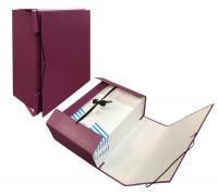 Папка архивная 110мм бумвинил с резинкой бордо (короб)