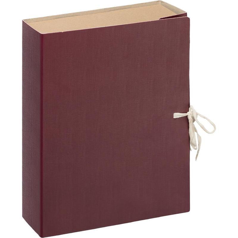 Папка архивная 150мм бумвинил с завязками бордо (короб)