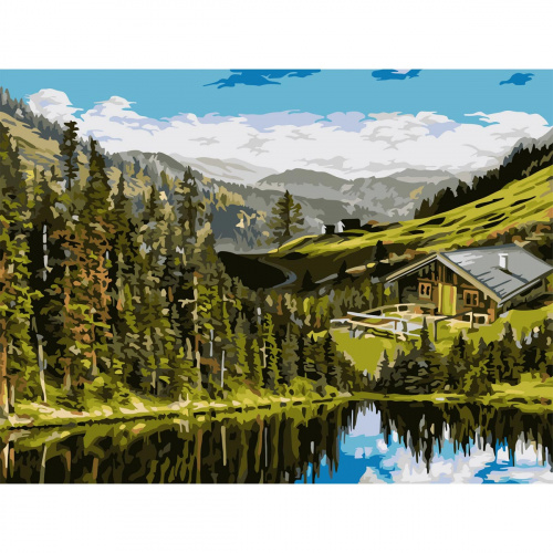 Творч Рисование по номерам 40Х50 Домик на холмах