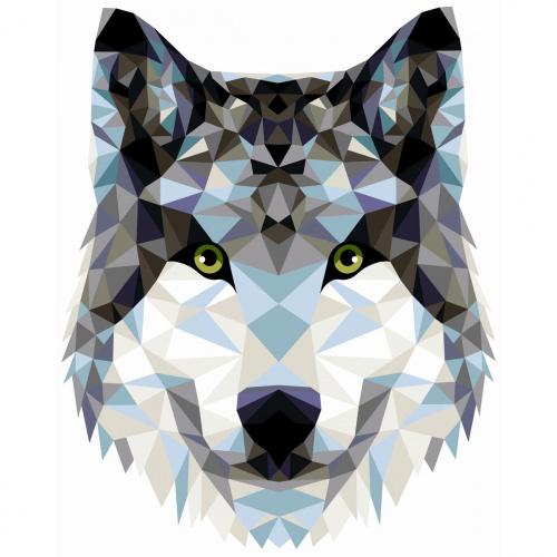 Творч Рисование по номерам 40Х50 Волк (полигональный стиль)