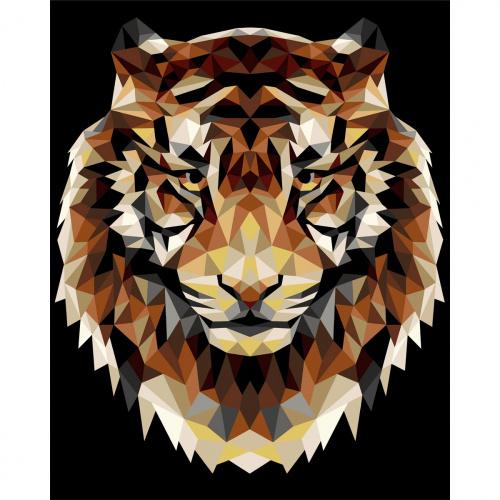 Творч Рисование по номерам 40Х50 Тигр (полигональный стиль)