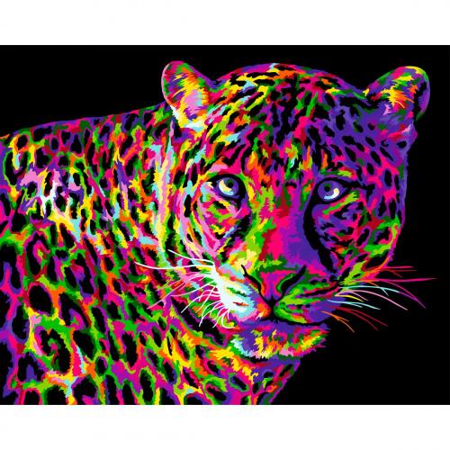 Творч Рисование по номерам 40Х50 Цветной леопрад
