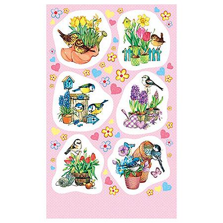 Наклейки 0-11-388А Птички с цветами