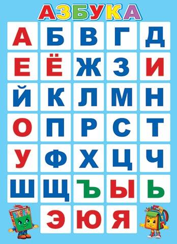 Плакат Азбука А2 вертик голубой фон Букварь и Ранец
