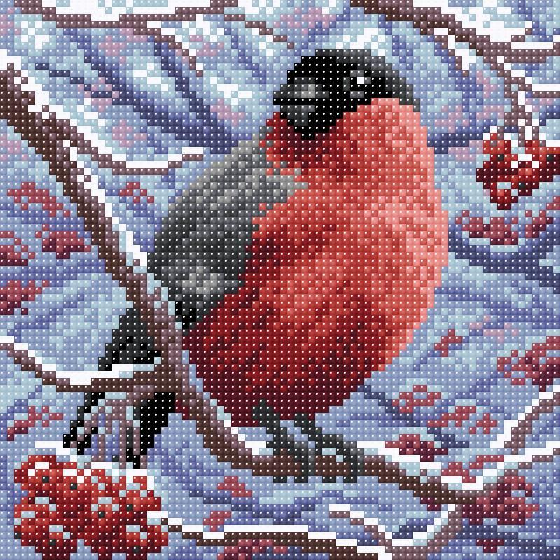 Творч Картина стразами 20*20 Снегирь