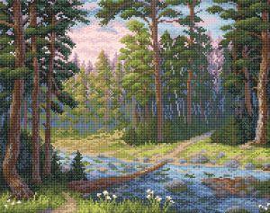 Творч Картина стразами 48х38 Лесная речка