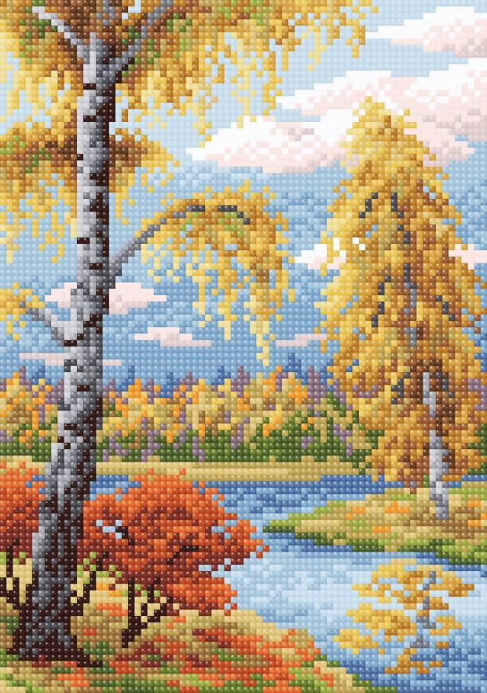 Творч Картина стразами 19х27 Осенний пейзаж