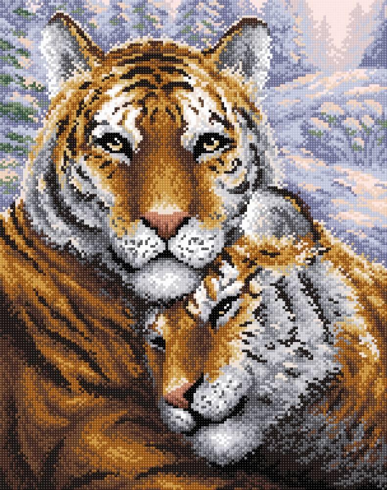 Творч Картина стразами 38х48 Тигры
