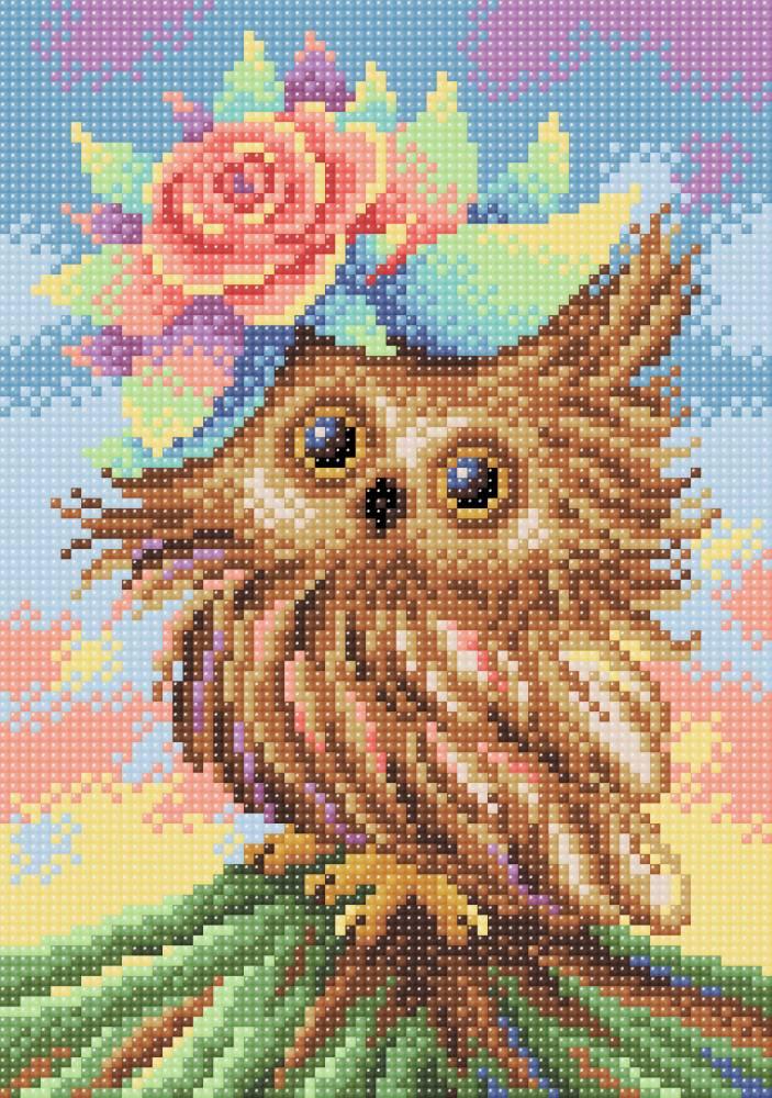 Творч Картина стразами 19х27 Очаровательная совушка