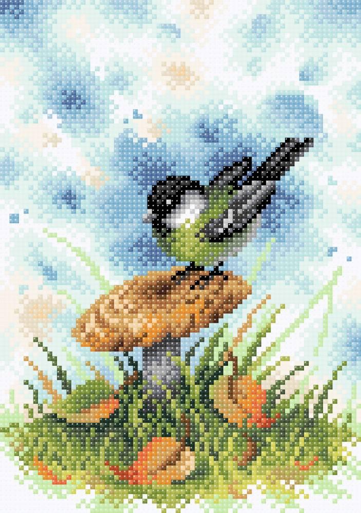 Творч Картина стразами 19х27 На грибной опушке