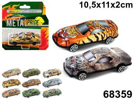 Машина Wild animal животные, 7,5см., сталь, ассорт.