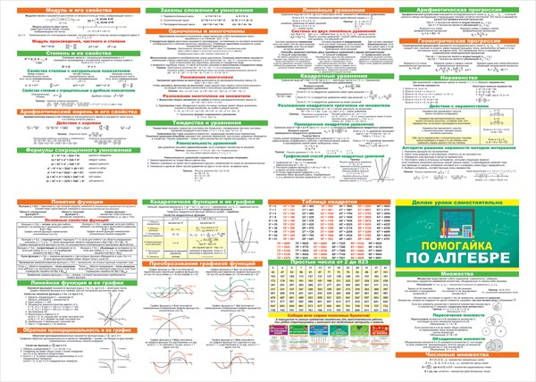 Помогайка по алгебре А5 буклет
