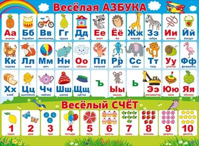 Плакат Веселая азбука. Веселый счет А2 горизонт самолетик