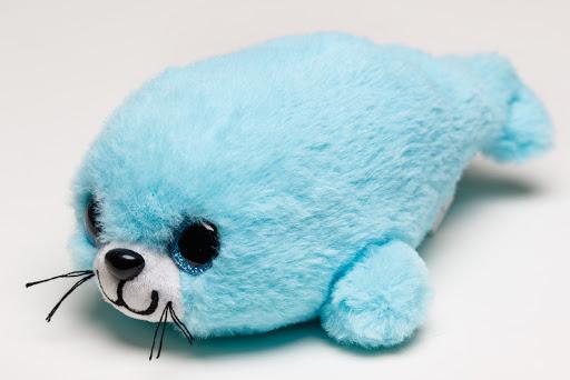 Мягконабивная Нерпа Пушистик голубой 20см