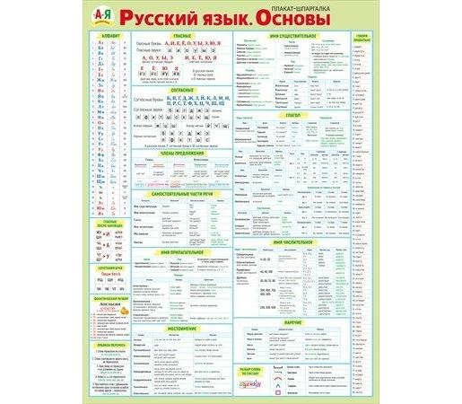 Плакат Русский язык. Основы А2 вертик салатная рамка