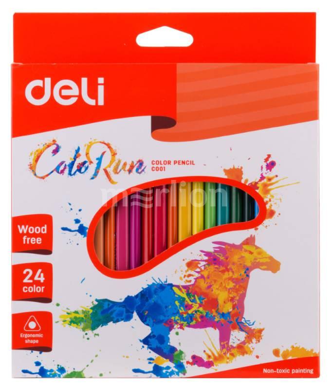 Карандаши цветные 24 цв пластик Deli трехгранные