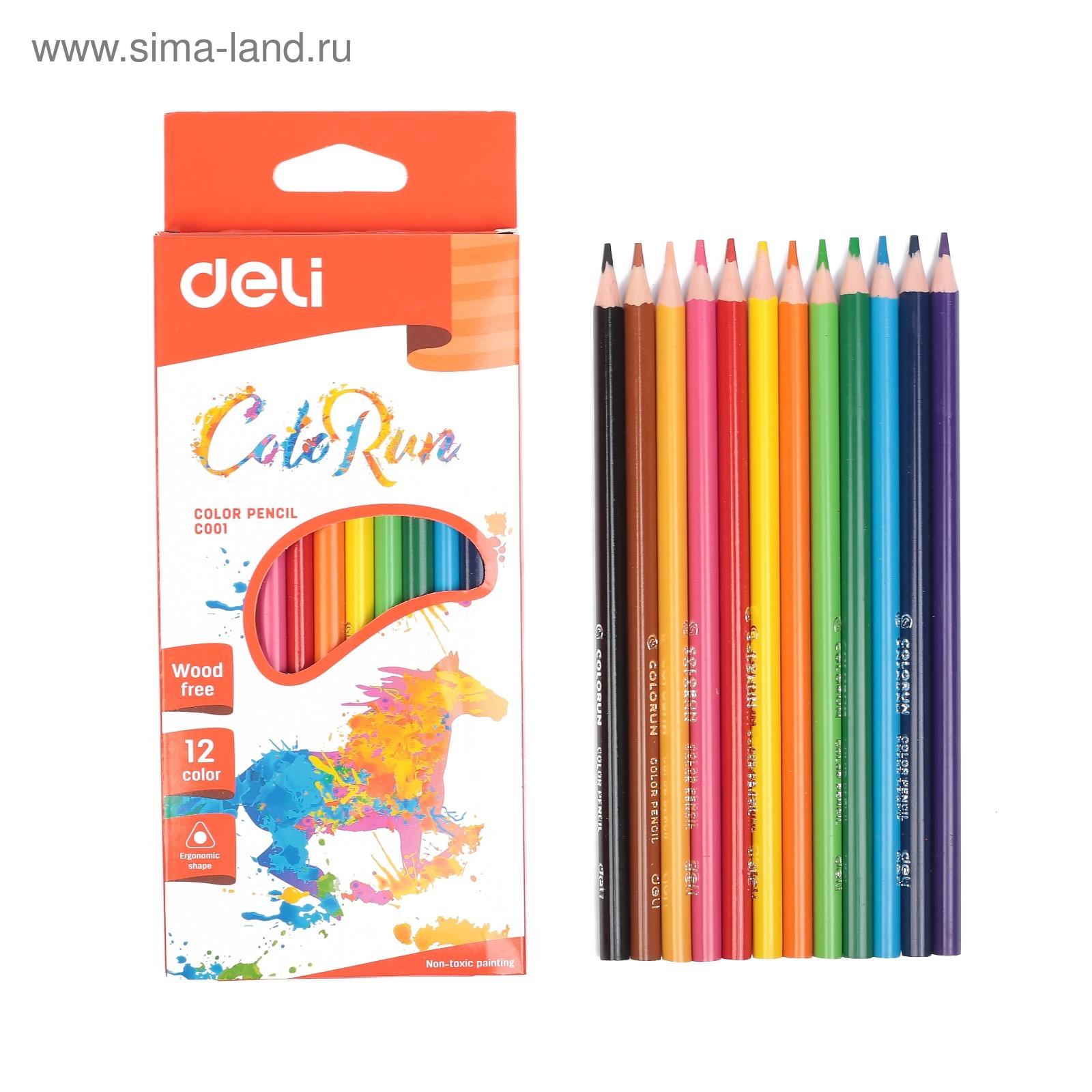 Карандаши цветные 12 цв пластик Deli трехгранные