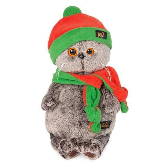 Мягконабивная BUDI BASA Басик в шапке и шарфике 22см в подарочной короб