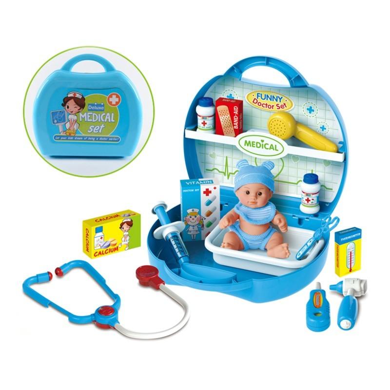 Набор Профи Доктор 19 пр.: стетоскоп, ванночка и др. в чемоданчике плас