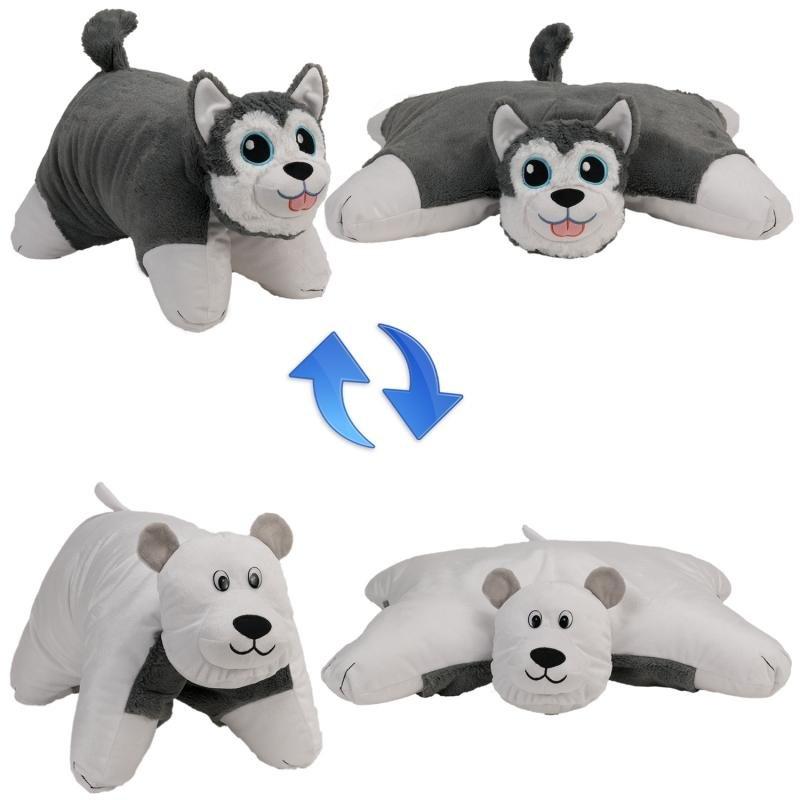 Мягконабивная Подушка Вывернушка 2в1,Хаски-Полярный Медведь