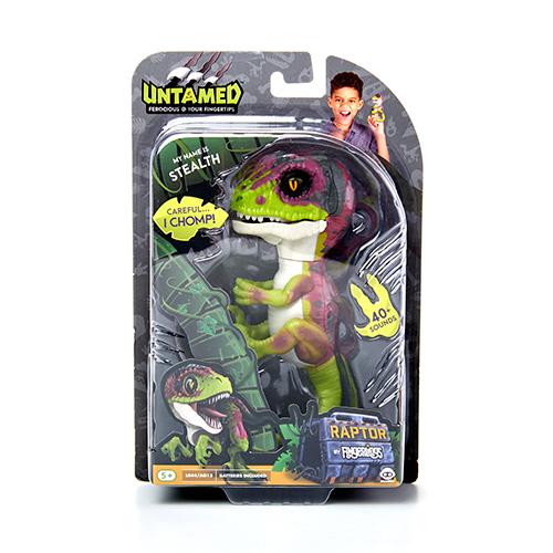 Интерактивная Динозавр Стелс зеленый с фиолетовым 12см., на батар.