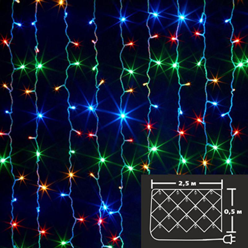 НГ Гирлянда электрическая Сноу Бум Сетка 100 LED ламп мультицвет 8 реж