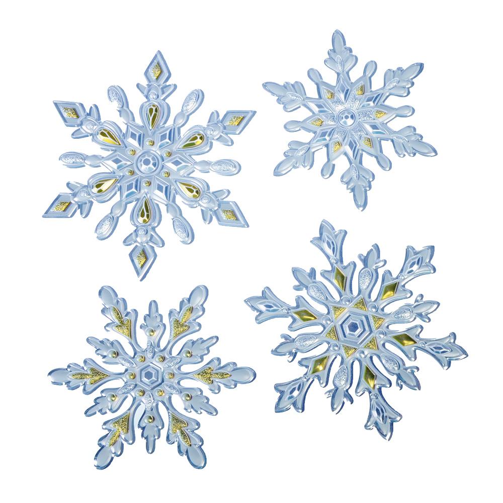 НГ Наклейка новогодняя Снежинки 18*23см фольга с тиснением