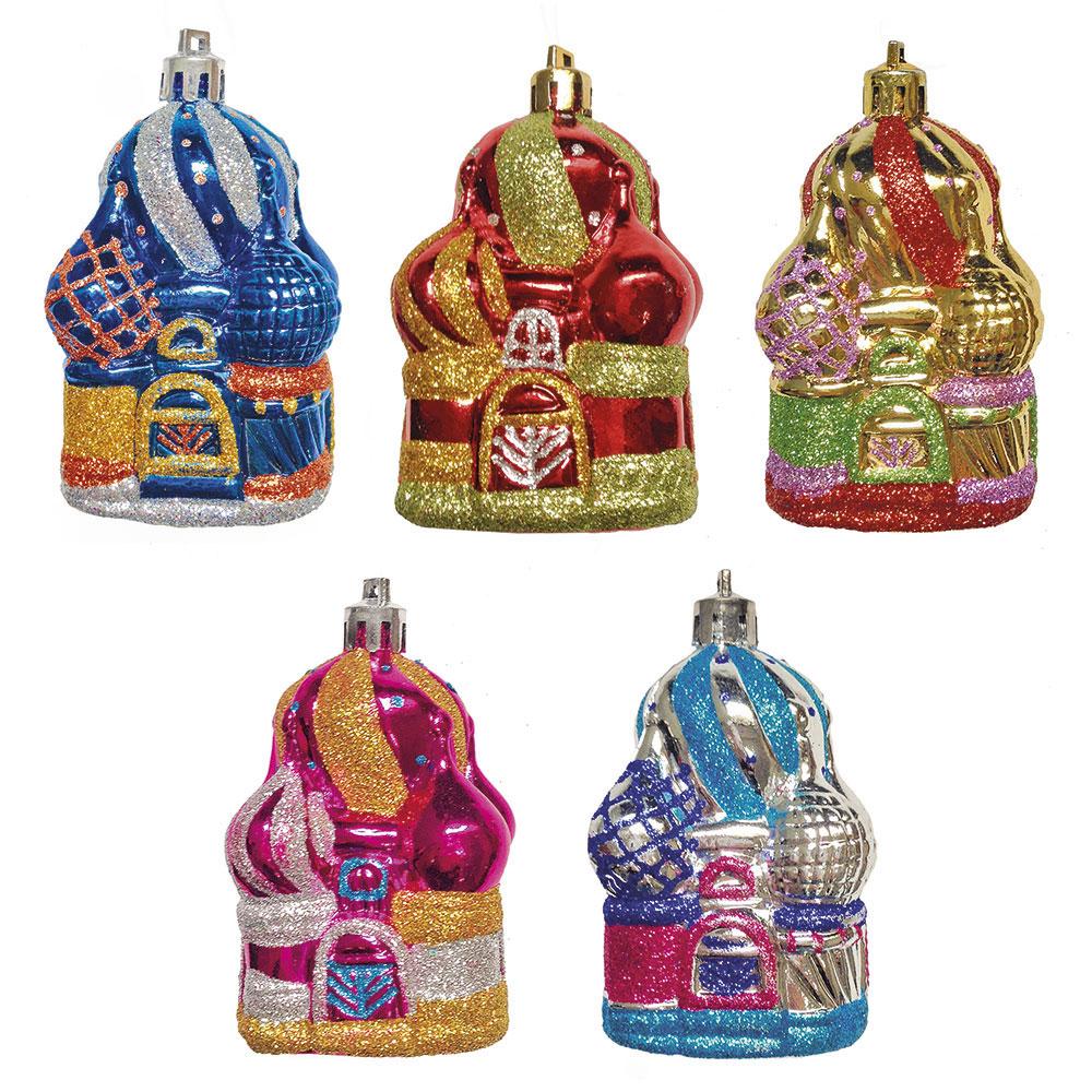 НГ Украшение елочное Рождественские соборы 2шт/уп 8см пластик 5 дизайнов