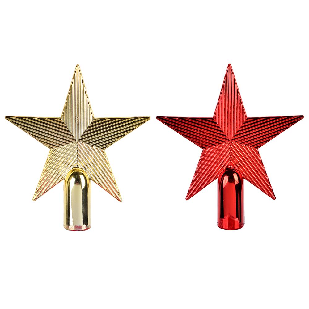 НГ Украшение елочное Звезда на елку 13см пластик красный золото