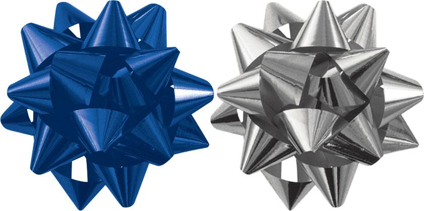 Праз Бант самокл. Звезда металл синий, серебро ПОШТУЧНО!