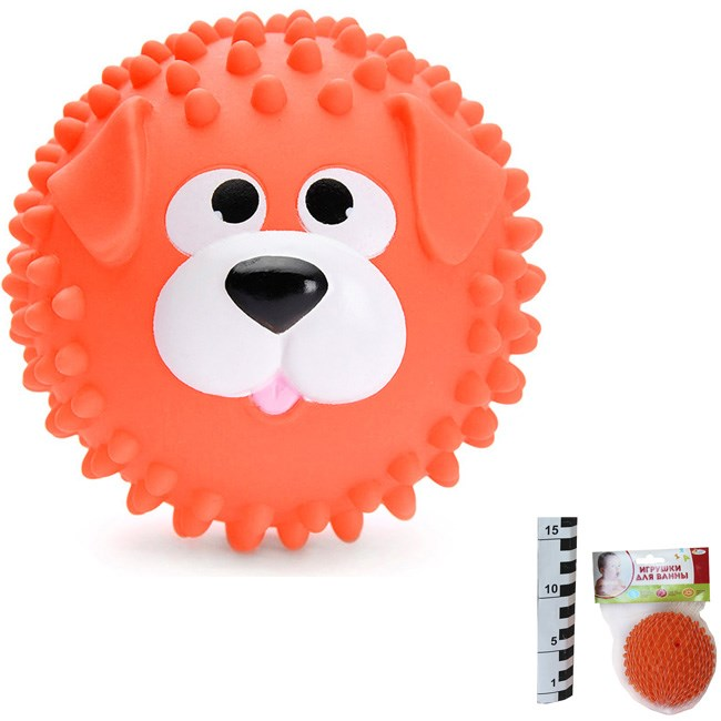 из ПВХ Набор для купания Мячик-собака оранж. 8см