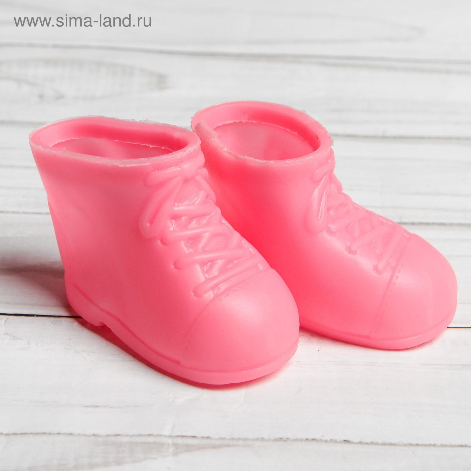 Ботинки для куклы 6,5см Бантики розовые резина