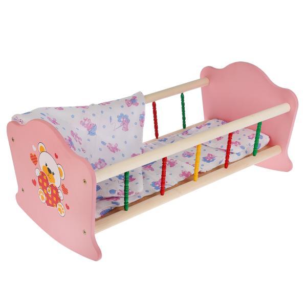Кроватка для кукол Карапуз Мой мишка дерев. 52см, с пласт. элементами