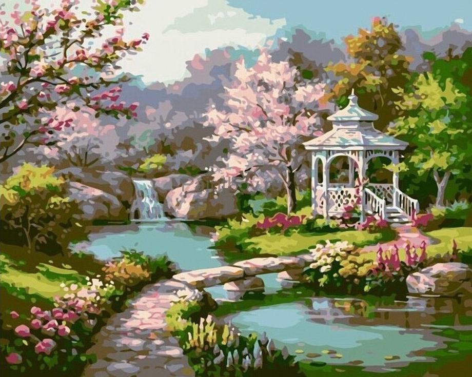 Творч Картина по номерам 40*50 Весенний парк