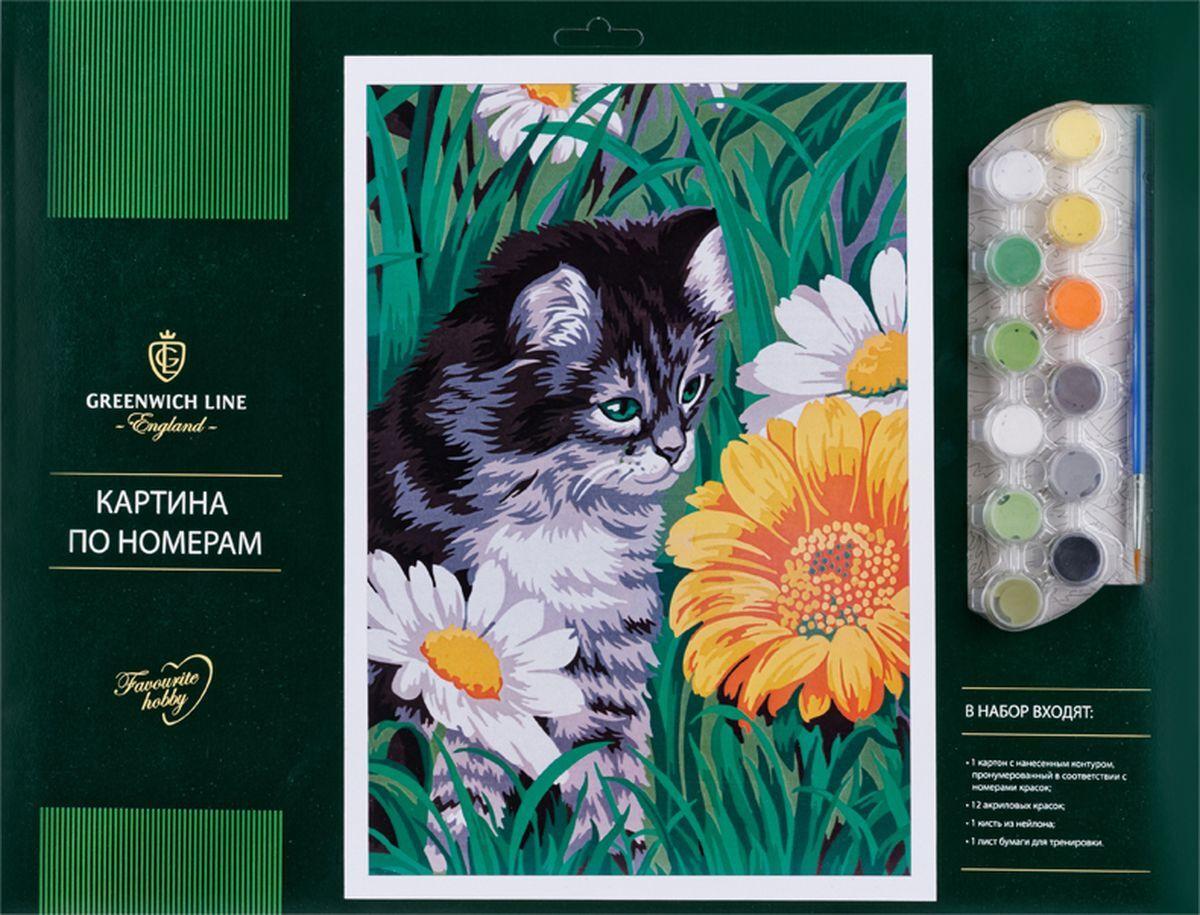 Творч Картина по номерам А3 Котик в цветах