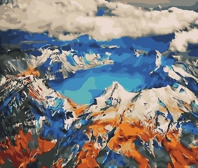 Творч Картина по номерам 40*50 Высокогорное озеро