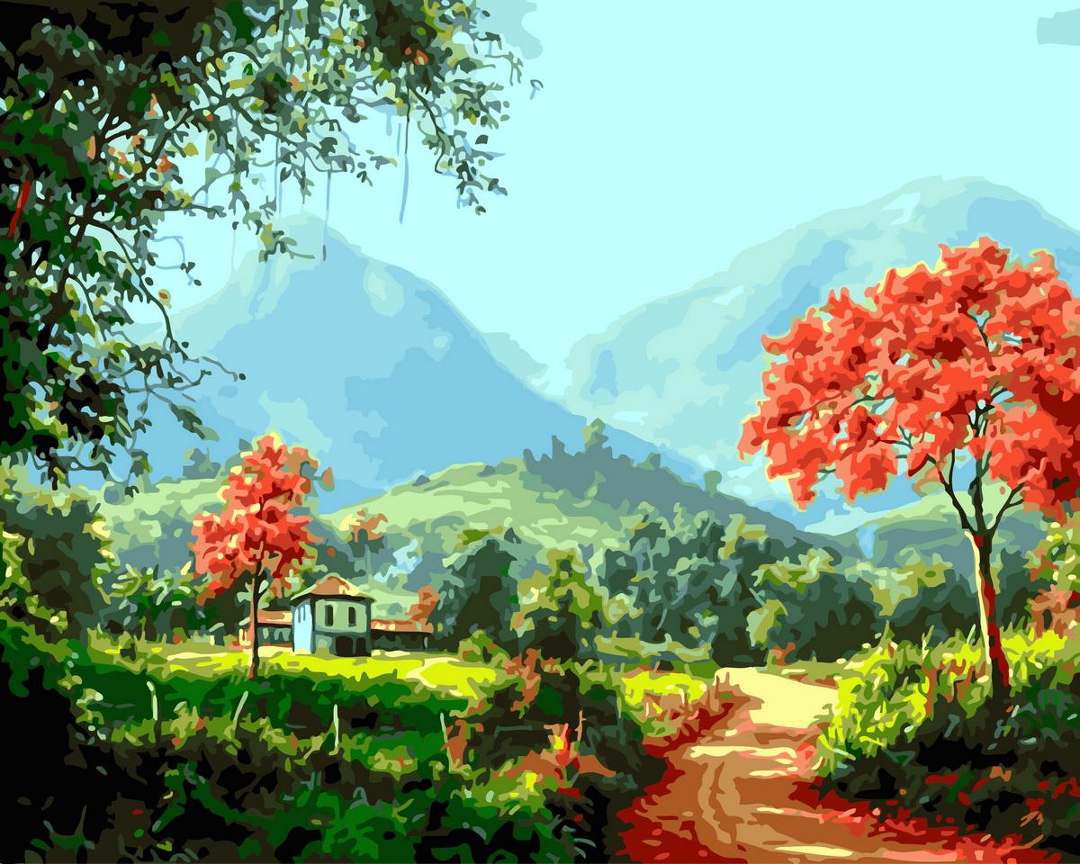 Творч Картина по номерам 40*50 Домик в горах