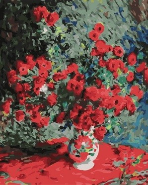 Творч Картина по номерам 40*50 Красно-зеленый букет