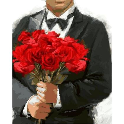 Творч Рисование по номерам 40*50 Розы для любимой
