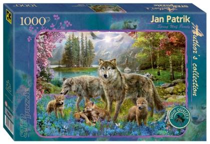 Пазл 1000 Step Семья волков весной. Ян Патрик