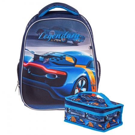Ранец панцирный Hatber Авто темно-синий, + термосумка